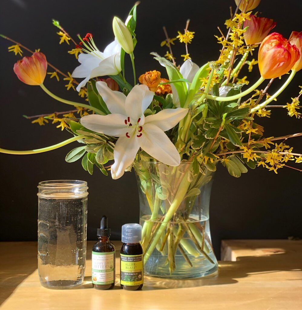 Flowers, water, tinctures
